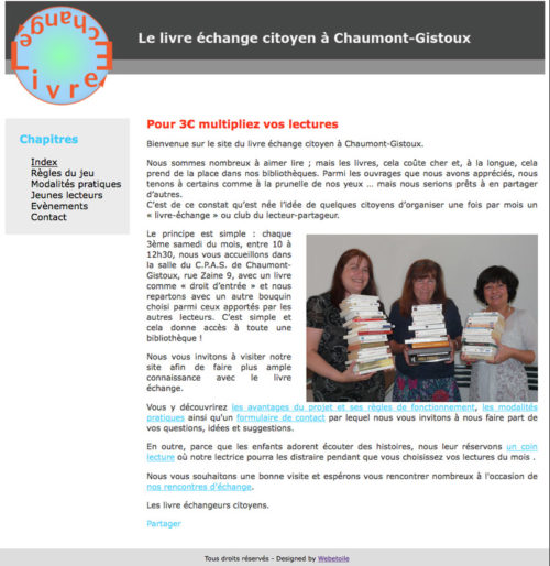 acueil du premier site internet du livre échange